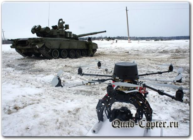 Съемка с квадрокоптера на танковом полигоне