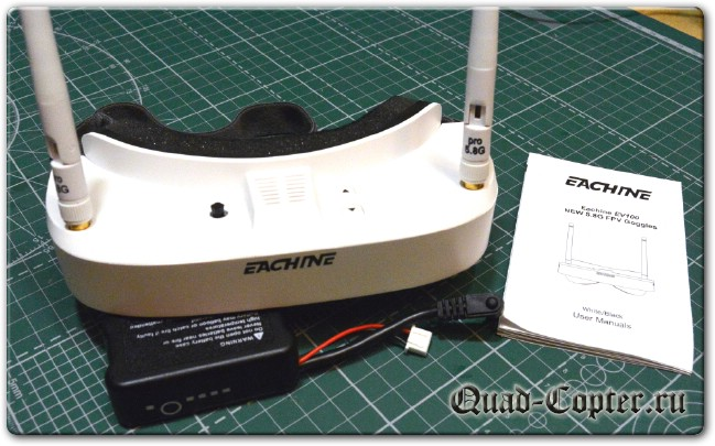 обзор Eachine EV100 720*540 5.8G 72CH FPV Goggles With Dual Antennas Fan 7.4V 1000mAh Battery