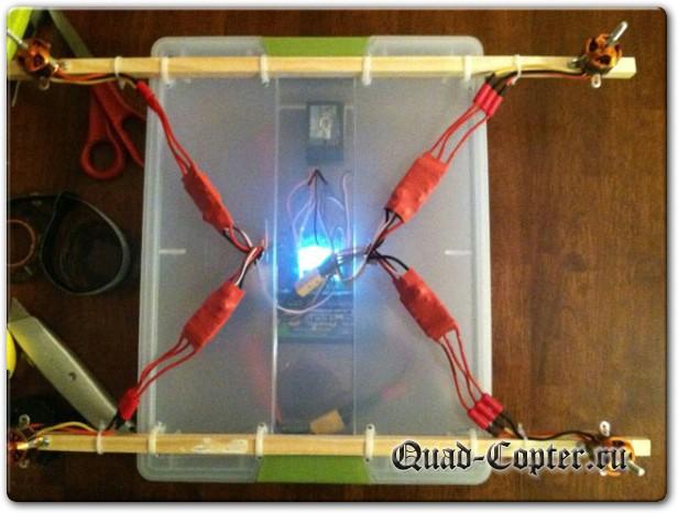 Самодельный квадрокоптер из коробки в сборе