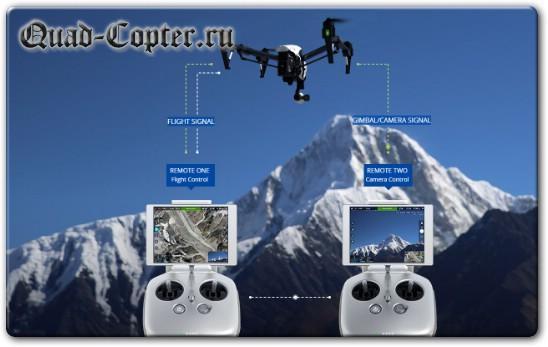 Управление квадрокоптером DJI Inspire 1 с 2-х пультов