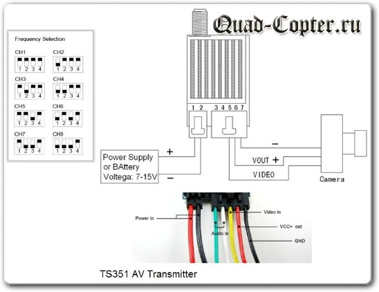 Схема подключения и настройки FPV видеопередатчика TS351