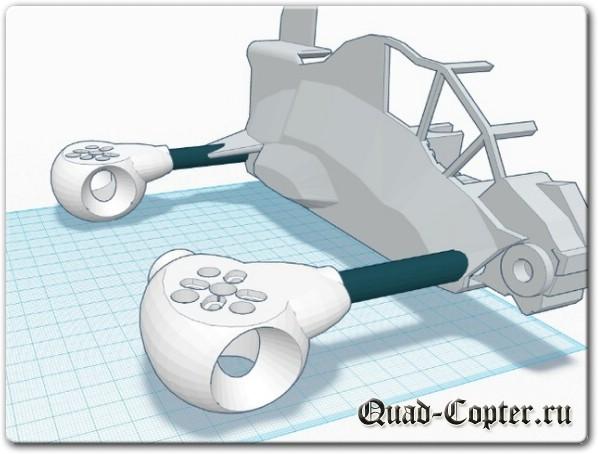 чертежи необычного квадрокоптера звездолета