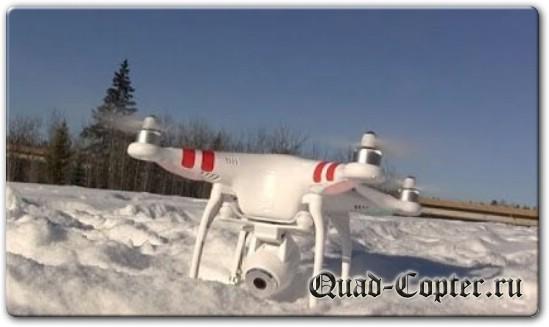Квадрокоптер зимой на снегу